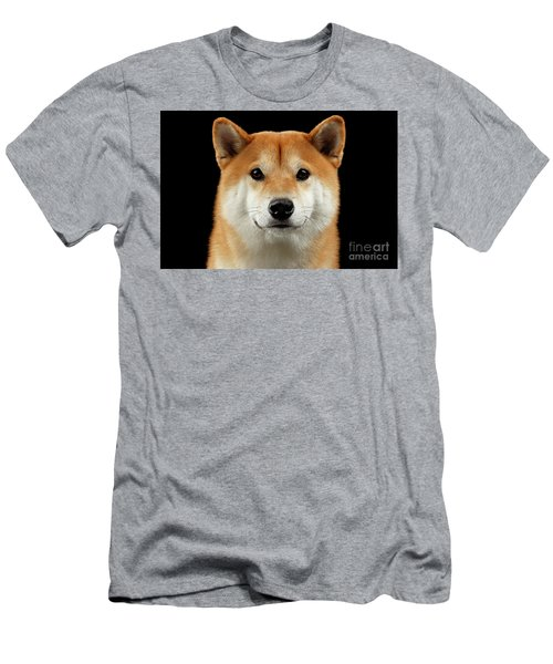 Close-up Portrait Of Head Shiba Inu Dog, Isolated Black Background Men's T-Shirt (Slim Fit) by Sergey Taran