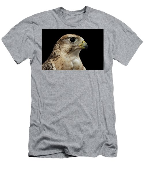 Close-up Saker Falcon, Falco Cherrug, Isolated On Black Background Men's T-Shirt (Slim Fit) by Sergey Taran