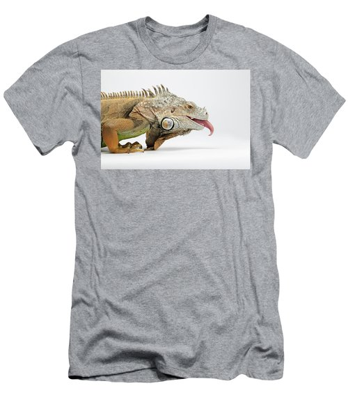 Men's T-Shirt (Athletic Fit) featuring the photograph Closeup Green Iguana Showing Tongue On White by Sergey Taran