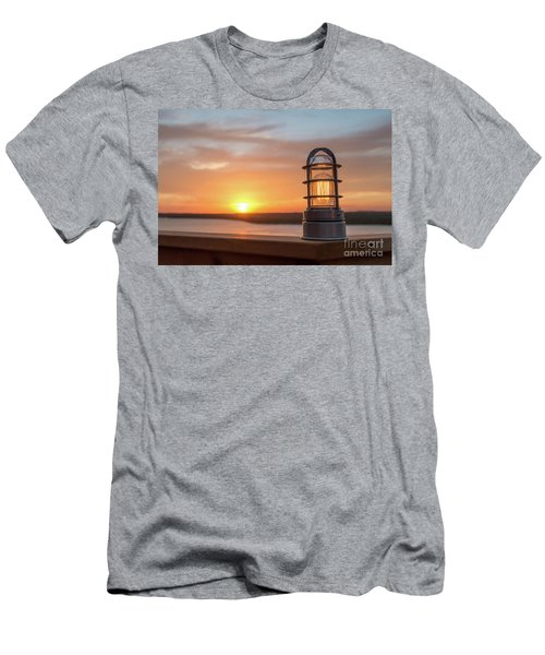 Closeup Of Light With Sunset In The Background Men's T-Shirt (Athletic Fit)
