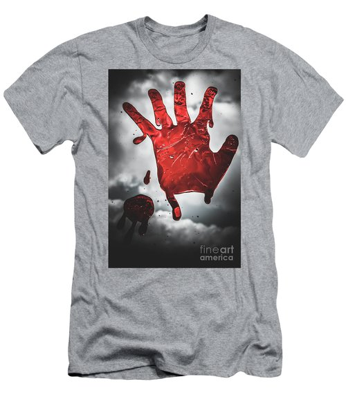 Closeup Of Scary Bloody Hand Print On Glass Men's T-Shirt (Athletic Fit)
