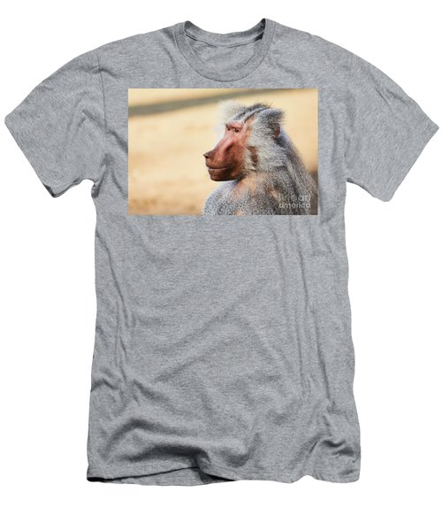 Men's T-Shirt (Athletic Fit) featuring the photograph Closeup Portrait Of A Male Baboon by Nick Biemans