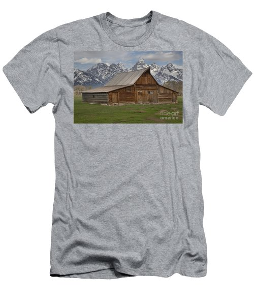 Cloudy Day At The Moulton Barn Men's T-Shirt (Slim Fit) by Adam Jewell
