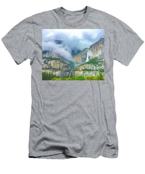 Cloudy Day At Yosemite Falls Digital Watercolor Men's T-Shirt (Athletic Fit)