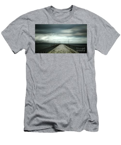 Men's T-Shirt (Slim Fit) featuring the photograph Cloudy Pier by Perry Webster