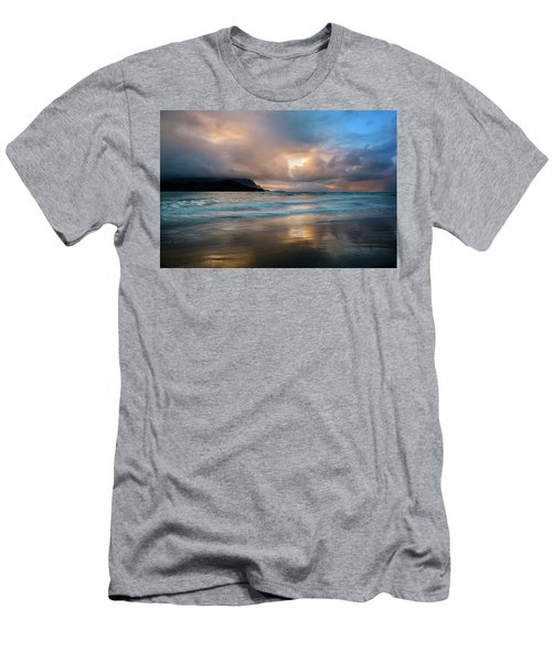 Men's T-Shirt (Athletic Fit) featuring the photograph Cloudy Sunset At Hanalei Bay by John Hight