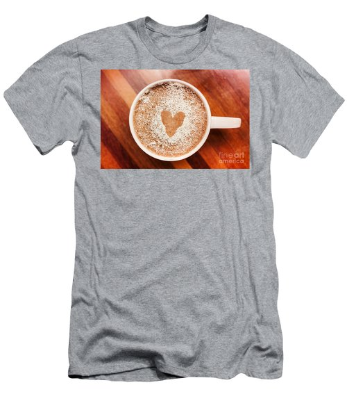 Coffee Love. White Coffee Cup On Wooden Background Men's T-Shirt (Athletic Fit)