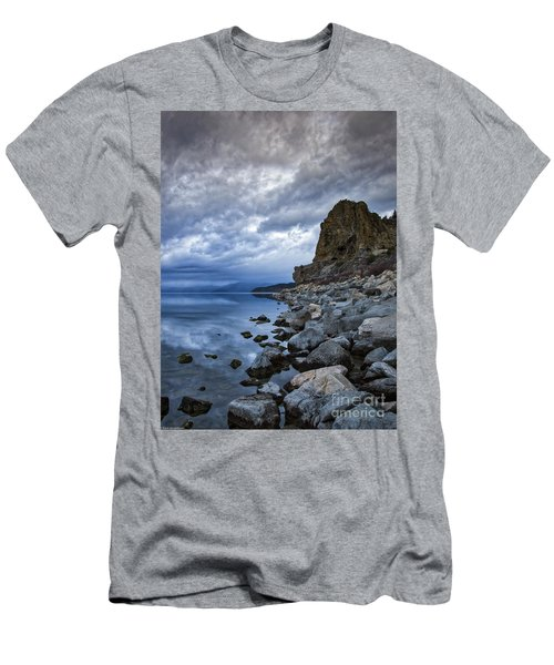 Cold Blue Cave Rock Men's T-Shirt (Athletic Fit)