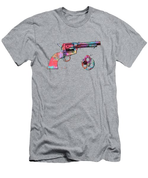 Colorful 1875 Colt Peacemaker Revolver Patent Minimal Men's T-Shirt (Athletic Fit)