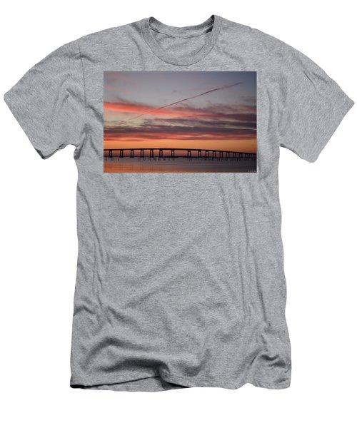 Colorful Sunrise Over Navarre Beach Bridge Men's T-Shirt (Athletic Fit)
