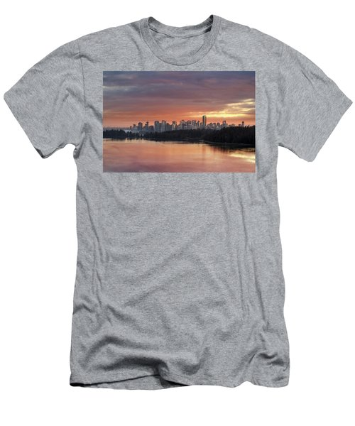 Colorful Sunset Over Vancouver Bc Downtown Skyline Men's T-Shirt (Athletic Fit)