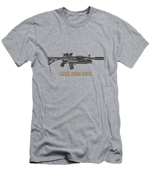 Colt   M 4 A 1   S O P M O D  Carbine With 5.56 N A T O Ammo On Gray Polyurethane Foam Men's T-Shirt (Athletic Fit)