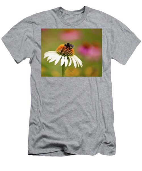 Men's T-Shirt (Slim Fit) featuring the photograph Coneflower And Bee by Phyllis Peterson