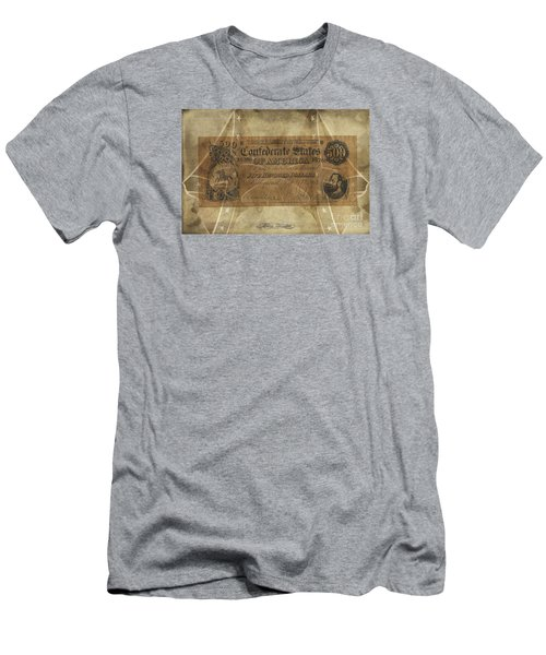Men's T-Shirt (Slim Fit) featuring the digital art Confederate $500.00 Note by Melissa Messick