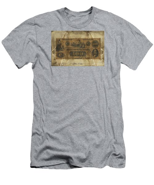 Men's T-Shirt (Slim Fit) featuring the digital art Confederate Mississippi $100 Note by Melissa Messick