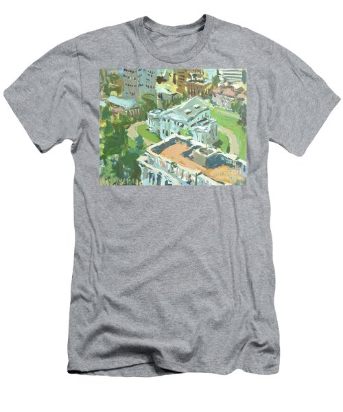 Contemporary Richmond Virginia Cityscape Painting Featuring Virginia State Capitol Building Men's T-Shirt (Athletic Fit)