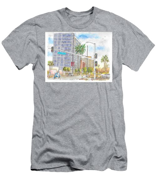 Corner Wilshire Blvd. And San Vicente Blvd, Los Angeles, Ca Men's T-Shirt (Athletic Fit)