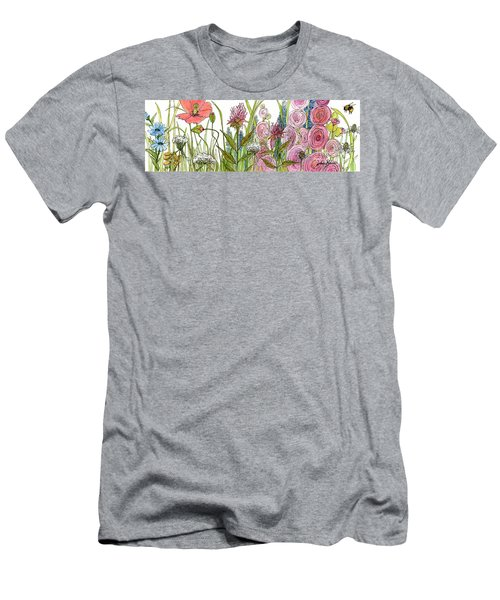 Cottage Hollyhock Garden Men's T-Shirt (Slim Fit) by Laurie Rohner