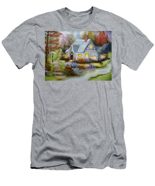Cottage In Fall Men's T-Shirt (Athletic Fit)