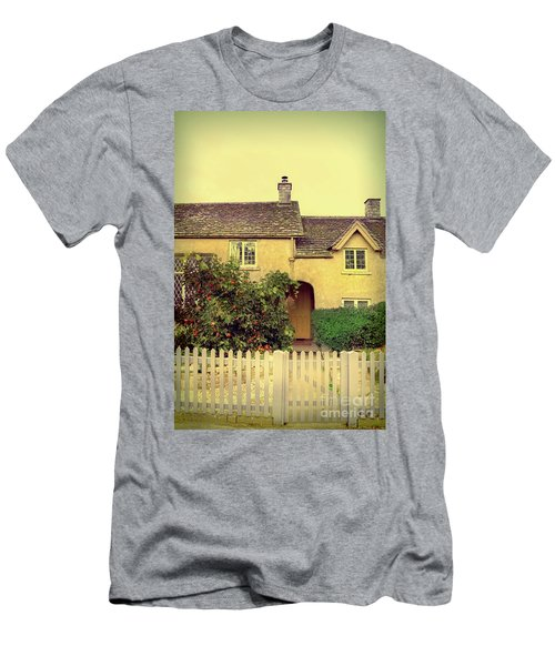 Cottage With A Picket Fence Men's T-Shirt (Slim Fit) by Jill Battaglia