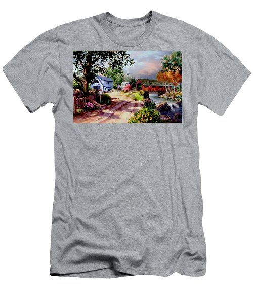 Country Covered Bridge Men's T-Shirt (Slim Fit) by Ron Chambers
