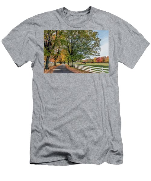 Country Road In Rural Maryland During Autumn Men's T-Shirt (Athletic Fit)