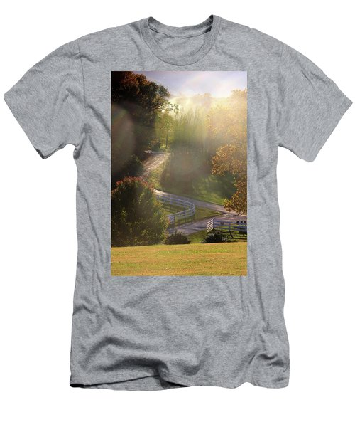Men's T-Shirt (Slim Fit) featuring the photograph Country Road In Rural Virginia, With Trees Changing Colors In Autumn by Emanuel Tanjala