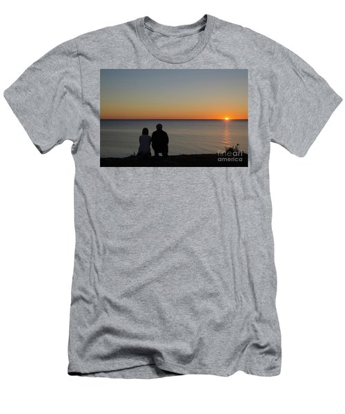 Men's T-Shirt (Slim Fit) featuring the photograph Couple Silhouettes By Sunset by Kennerth and Birgitta Kullman