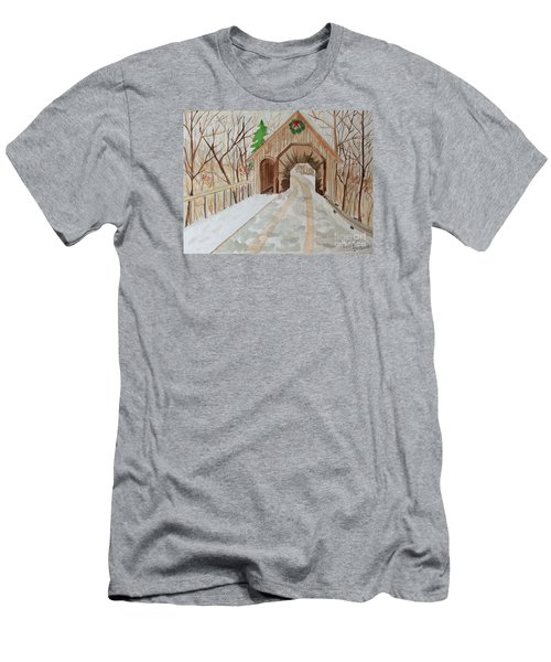Men's T-Shirt (Slim Fit) featuring the painting Covered Bridge by Denise Tomasura