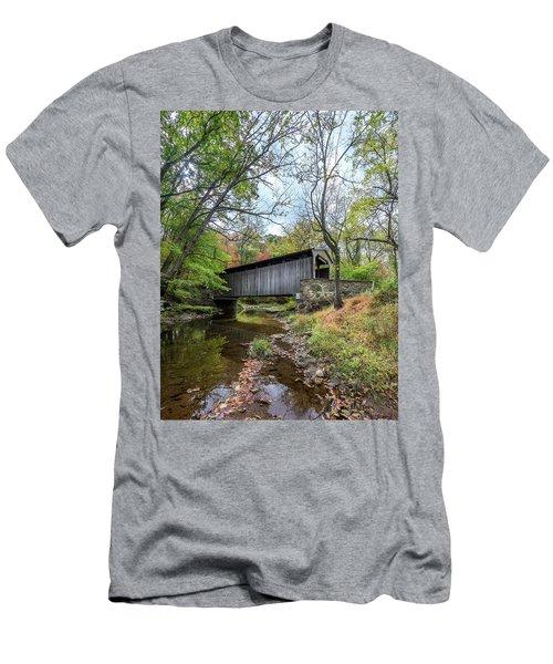 Covered Bridge In Pennsylvania During Autumn Men's T-Shirt (Athletic Fit)