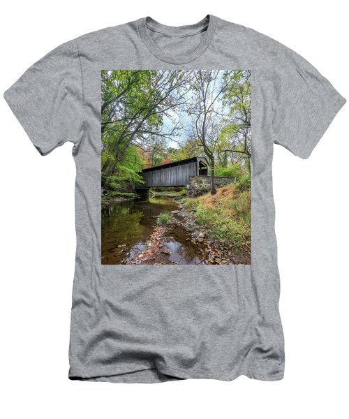 Covered Bridge In Pennsylvania During Autumn Men's T-Shirt (Athletic Fit)