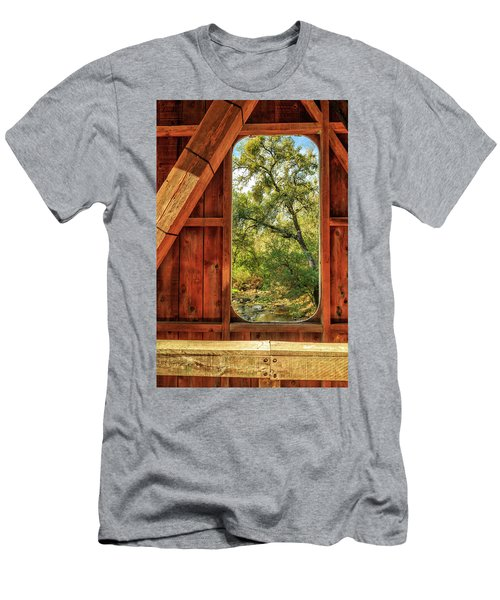 Covered Bridge Window Men's T-Shirt (Slim Fit) by James Eddy