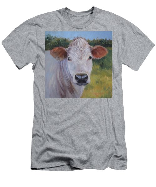 Cow Painting Ms Ivory Men's T-Shirt (Slim Fit) by Cheri Wollenberg