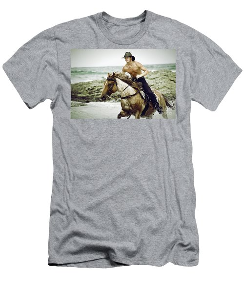 Cowboy Riding Horse On The Beach Men's T-Shirt (Athletic Fit)
