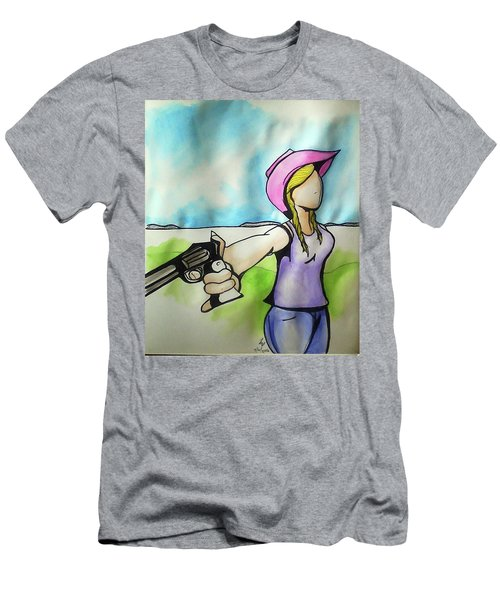 Cowgirl With Gun Men's T-Shirt (Athletic Fit)