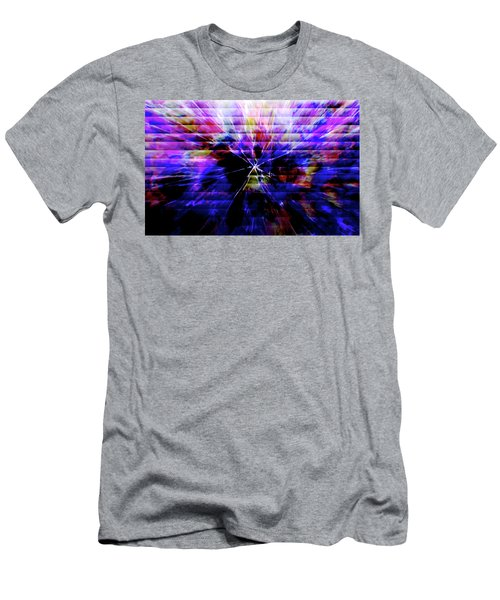 Cracked Abstract Blue Men's T-Shirt (Slim Fit) by Carol Crisafi