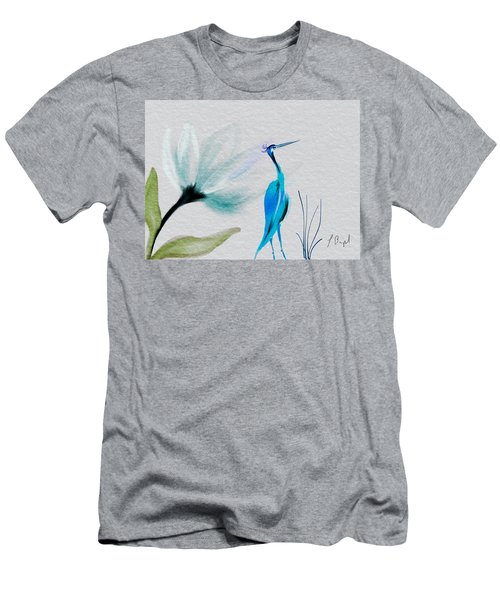 Crane And Flower Abstract Men's T-Shirt (Slim Fit) by Frank Bright