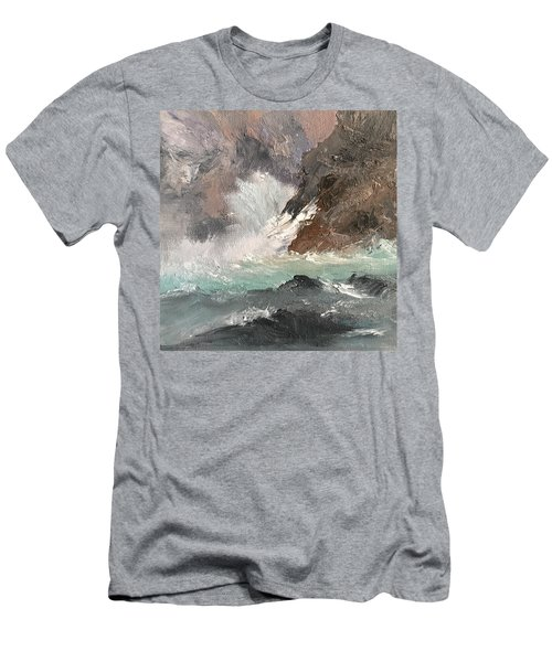Crashing Waves Seascape Art Men's T-Shirt (Slim Fit) by Michele Carter