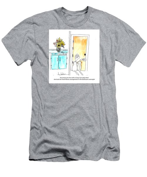 Men's T-Shirt (Slim Fit) featuring the painting Crazy Cat Lady 0002 by Lou Belcher