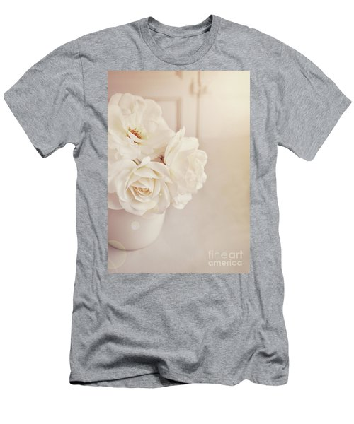Men's T-Shirt (Slim Fit) featuring the photograph Cream Roses In Vase by Lyn Randle