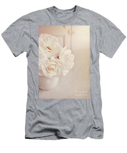 Cream Roses In Vase Men's T-Shirt (Athletic Fit)
