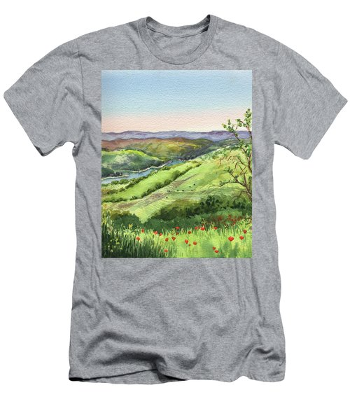 Men's T-Shirt (Athletic Fit) featuring the painting Creek In The Hills Watercolor Landscape  by Irina Sztukowski
