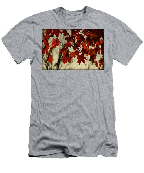 Men's T-Shirt (Slim Fit) featuring the photograph Crimson Red Autumn Leaves by Chris Berry