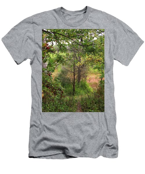 Men's T-Shirt (Slim Fit) featuring the photograph Crooked Creek Woods by Kimberly Mackowski