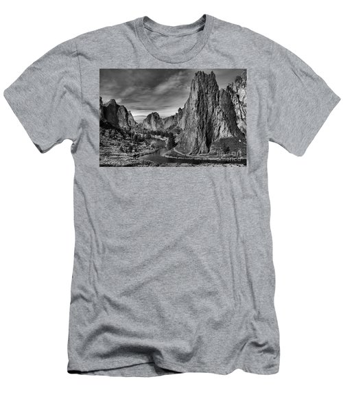 Crooked River Black And White Men's T-Shirt (Athletic Fit)