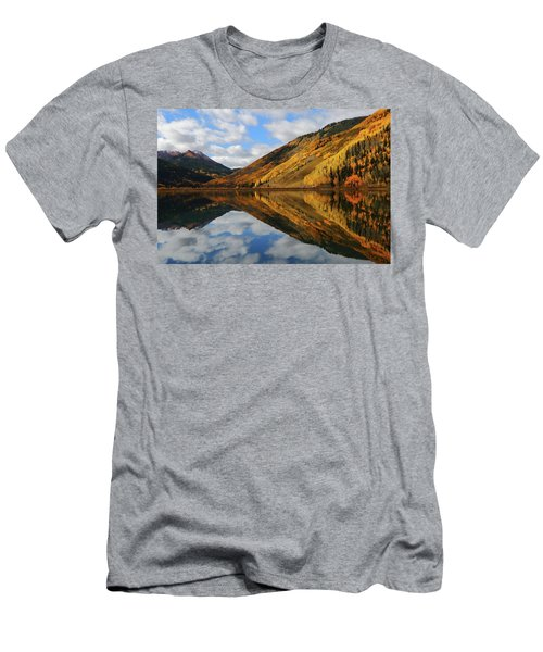 Men's T-Shirt (Slim Fit) featuring the photograph Crystal Lake Autumn Reflection by Jetson Nguyen