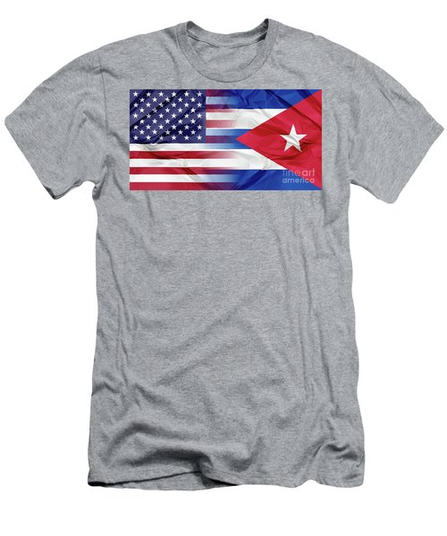 Cuba And Usa Flags Men's T-Shirt (Athletic Fit)