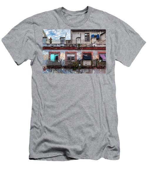 Men's T-Shirt (Athletic Fit) featuring the photograph Cuban Woman At Calle Bernaza Havana Cuba by Charles Harden