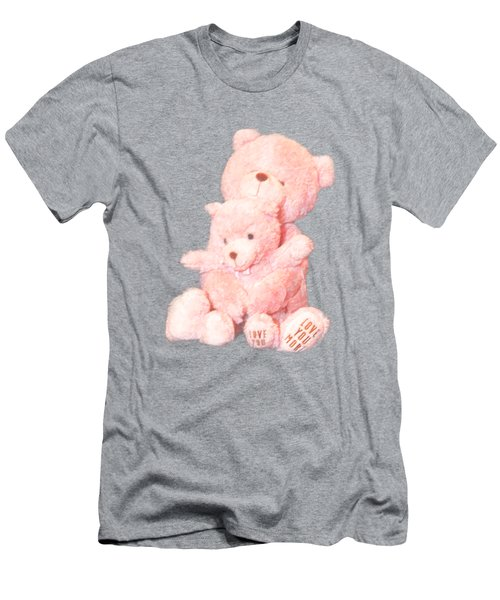 Cutout Hugging Bears Men's T-Shirt (Slim Fit) by Linda Phelps