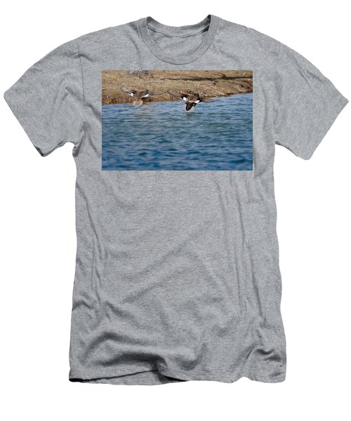Gadwall Ducks - In Flight Side By Side Men's T-Shirt (Athletic Fit)